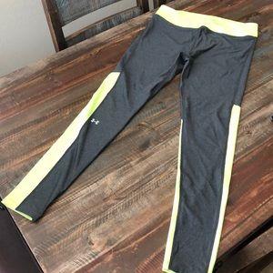 Neon Yellow, Grey Under Armor Compression Leggings